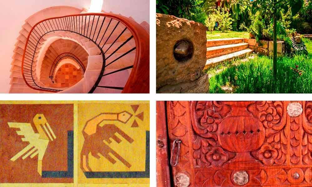 Grada con piedra natural, piedra tallada prehispánica en jardín, motivo Jalqá en muebles, puerta tallada